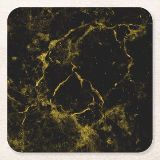 elegant stylish modern chic black and gold marble square paper coaster