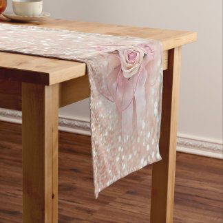 Elegant stylish Modern,Glittery, Roses Short Table Runner