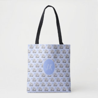 Elegant Stylish Monogram Cute Baby Elephants Blue Tote Bag
