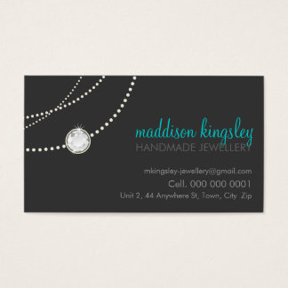 elegant stylish necklace solitaire grey aqua blue business card