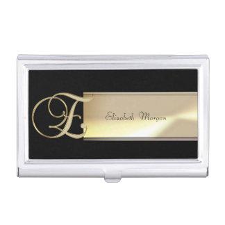 Elegant Stylish Proffesional,Black ,Gold-Monogram Business Card Holder