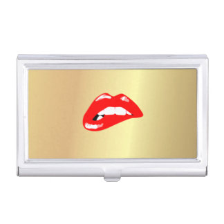 Elegant Stylish Proffesional Faux Gold-Red Lips Case For Business Cards