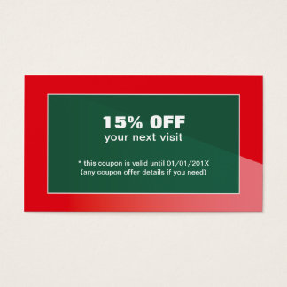 Elegant Stylish Red Green Beauty Salon Coupon Business Card