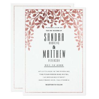 Elegant stylish rose faux gold floral Wedding Card