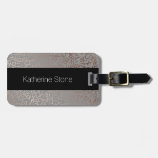 Elegant stylish rose gold geometric pattern grey bag tag