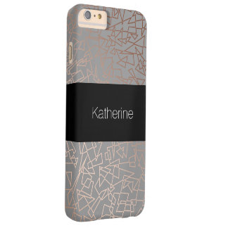 Elegant stylish rose gold geometric pattern grey barely there iPhone 6 plus case