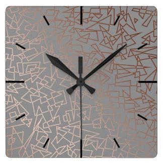 Elegant stylish rose gold geometric pattern grey square wall clock