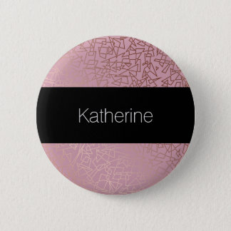 Elegant stylish rose gold geometric pattern pink 2 inch round button