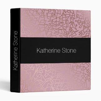 Elegant stylish rose gold geometric pattern pink 3 ring binder