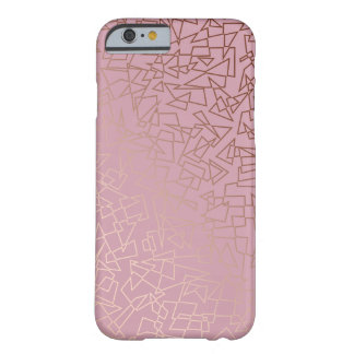 Elegant stylish rose gold geometric pattern pink barely there iPhone 6 case