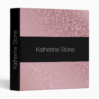 Elegant stylish rose gold geometric pattern pink binders