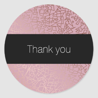 Elegant stylish rose gold geometric pattern pink classic round sticker