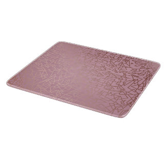 Elegant stylish rose gold geometric pattern pink cutting board