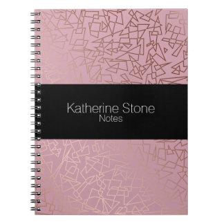 Elegant stylish rose gold geometric pattern pink notebook