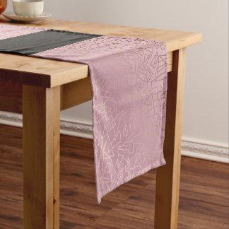 Elegant stylish rose gold geometric pattern pink short table runner