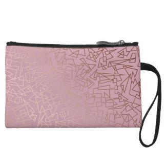 Elegant stylish rose gold geometric pattern pink wristlet