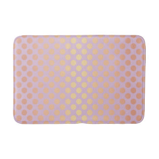 Elegant stylish rose gold polka dots pattern pink bath mat