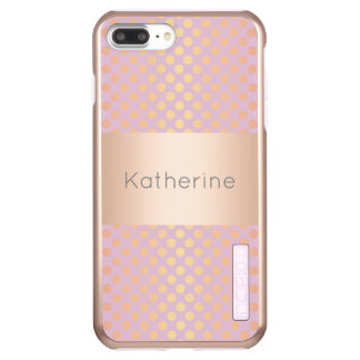 Elegant stylish rose gold polka dots pattern pink incipio DualPro shine iPhone 7 plus case