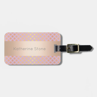 Elegant stylish rose gold polka dots pattern pink luggage tag
