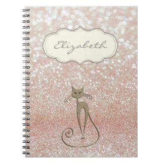 Elegant Stylish ,Shiny , Glittery Bokeh ,Cat Spiral Notebook