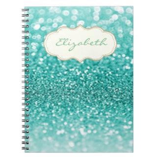 Elegant Stylish ,Shiny ,Green Glittery Bokeh Notebooks