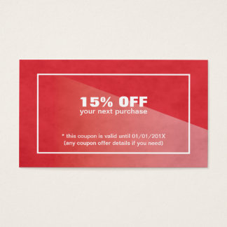 Elegant Stylish Texture Red Beauty Coupon Business Card