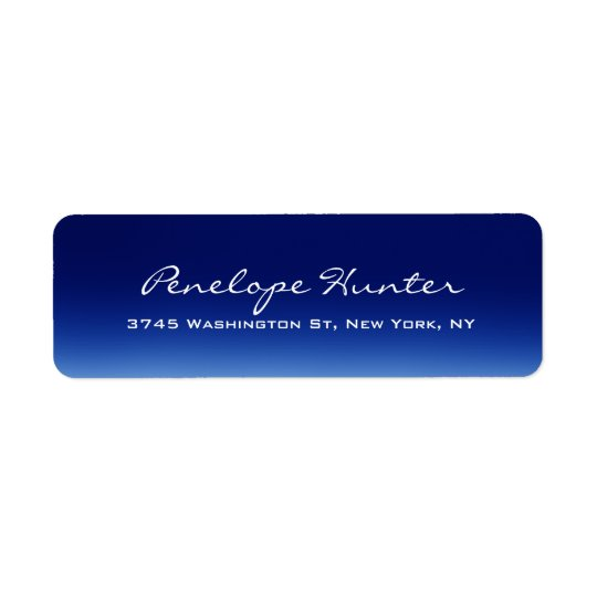 Elegant Stylish Trendy Blue Handwriting Script Return Address Label