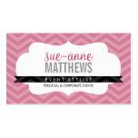 ELEGANT stylish trendy chevron pattern rose pink Business Card
