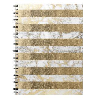 Elegant stylish white faux gold marble stripes notebooks