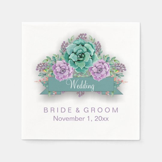 Elegant Succulent Floral Watercolor Wedding Disposable Napkins