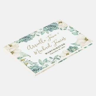 Elegant Succulent Watercolor Floral Guest Book