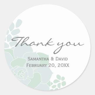 Elegant Succulent Wedding Thank You Round Sticker