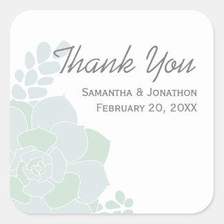 Elegant Succulent Wedding Thank You Square Sticker