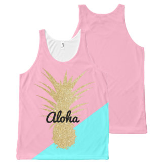elegant summer gold glitter pineapple pink mint All-Over-Print tank top