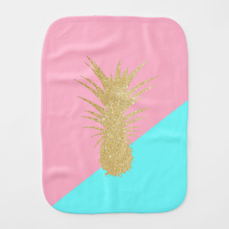 elegant summer gold glitter pineapple pink mint burp cloth