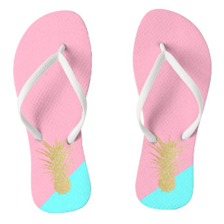 elegant summer gold glitter pineapple pink mint flip flops