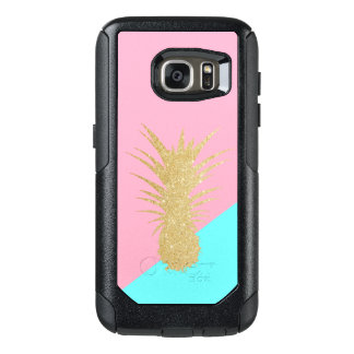 elegant summer gold glitter pineapple pink mint OtterBox samsung galaxy s7 case