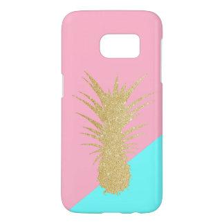 elegant summer gold glitter pineapple pink mint samsung galaxy s7 case