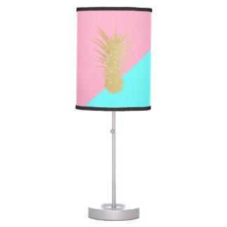 elegant summer gold glitter pineapple pink mint table lamp