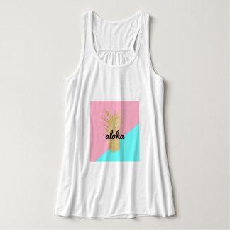 elegant summer gold glitter pineapple pink mint tank top