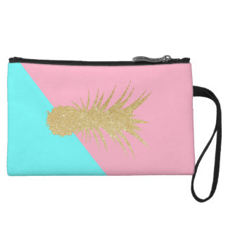 elegant summer gold glitter pineapple pink mint wristlet