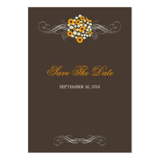 Elegant Sunflower Daisy Bouquet Save the Date Mini Business Cards