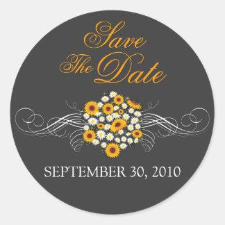 Elegant Sunflower Daisy Bouquet Save The Date Round Sticker