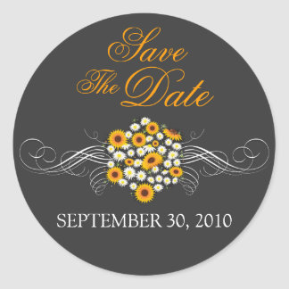 Elegant Sunflower Daisy Bouquet Save The Date Round Stickers