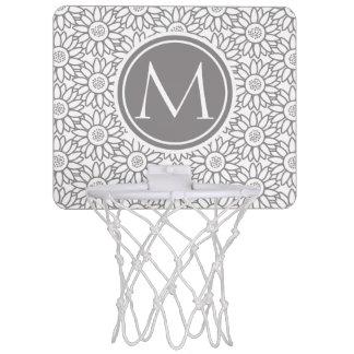 Elegant Sunflower Pattern Monogrammed Mini Basketball Hoop