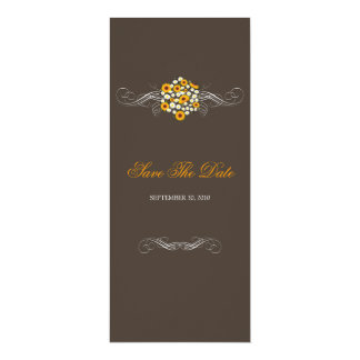 """Elegant Sunflowers & Daisies Bouquet Save The Date 4"""" X 9.25"""" Invitation Card"""