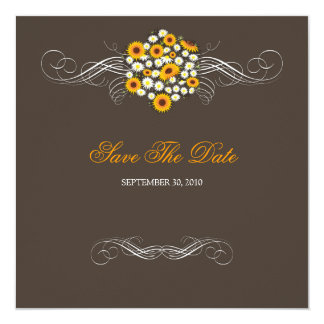 "Elegant Sunflowers & Daisies Bouquet Save The Date 5.25"" Square Invitation Card"