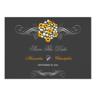 """Elegant Sunflowers & Daisies Bouquet Save The Date 5"""" X 7"""" Invitation Card"""