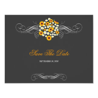 """Elegant Sunflowers & Daisies Bouquet Save The Date 4.25"""" X 5.5"""" Invitation Card"""