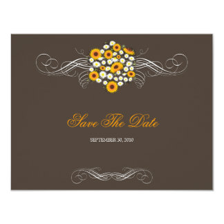 Elegant Sunflowers & Daisies Bouquet Save The Date 4.25x5.5 Paper Invitation Card